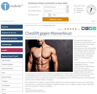 Veröffentlichung in myBody zum Thema Chestlift